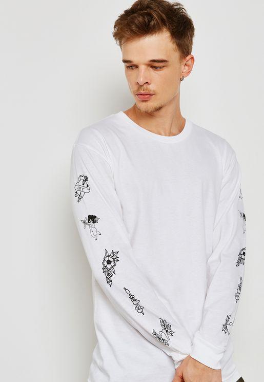Angeis Print On Sleeves T-Shirt