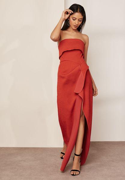 Side Split Bandeau Maxi Dress