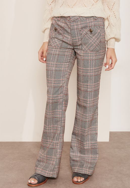 Checked Flare Pants