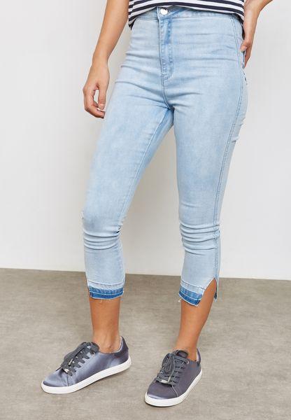 Deconstructed Split Hem Jeans