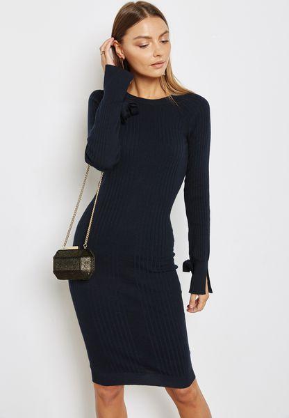 Tie Sleeve Ribbed Bodycon Dress