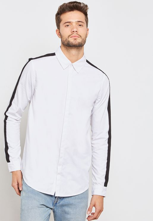 Contrast  Mono Stripe Sleeve Shirt