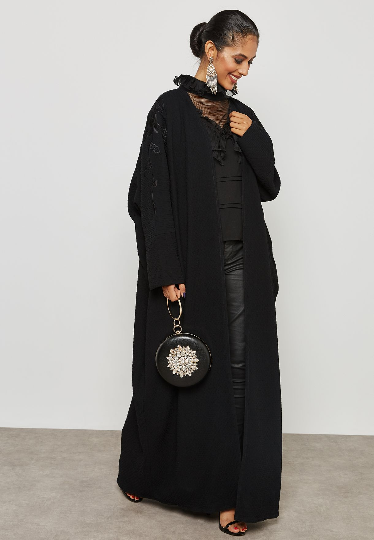 Floral Embroidered Sleeves Abaya