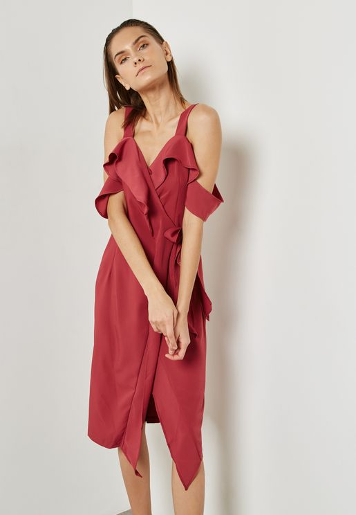 Wrap Front Ruffle Cold Shoulder Dress