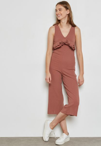 Ribbed Ruffle Paneled Culotte Jumpsuit