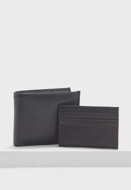 Leather Wallet and Card Holder Set
