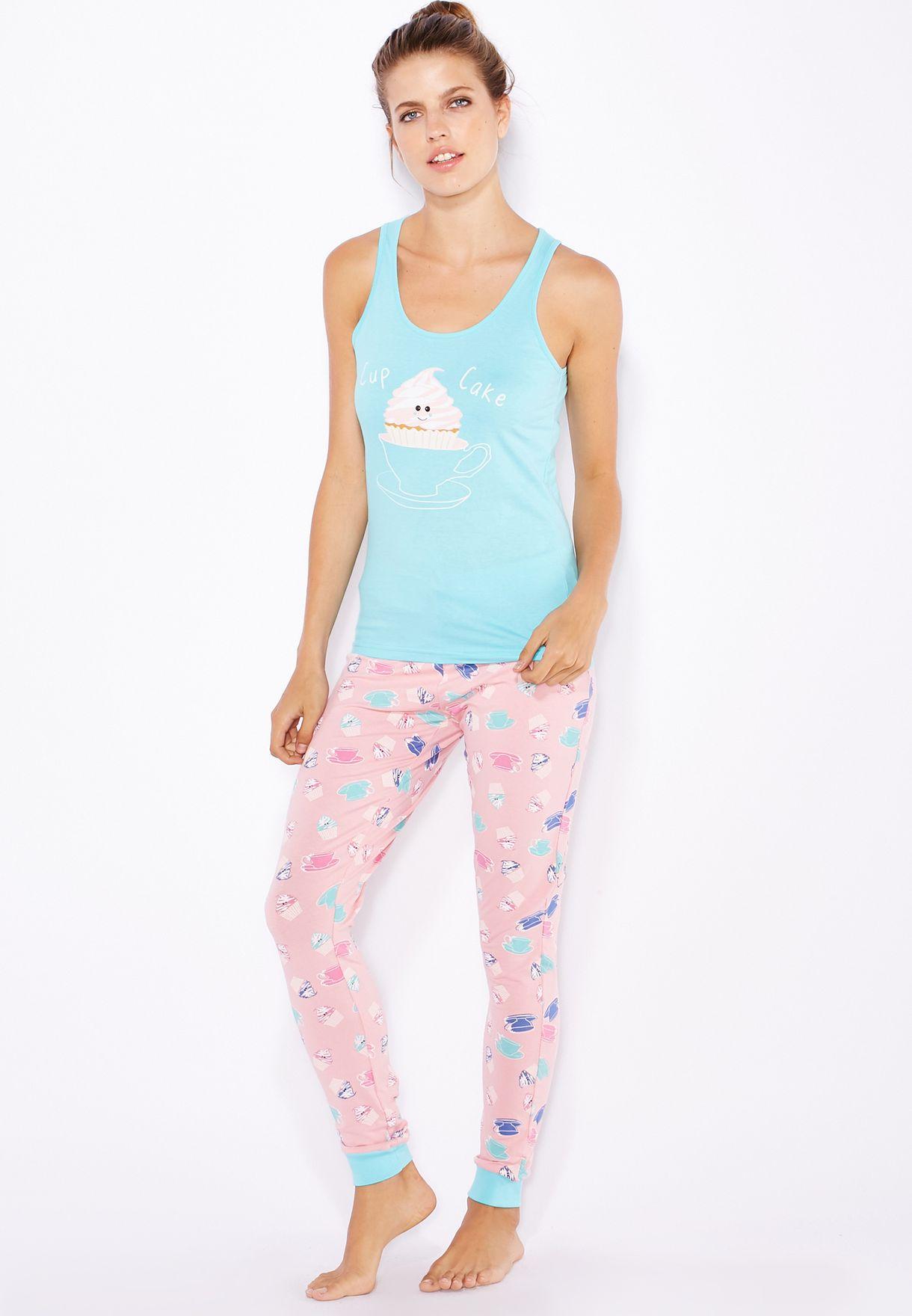 a573b1bc2b6e0 Shop Lounge District multicolor Printed Pyjama Set for Women in Oman ...