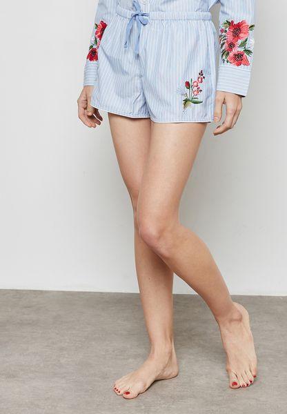 Stripe Embroidered Pyjama Shorts