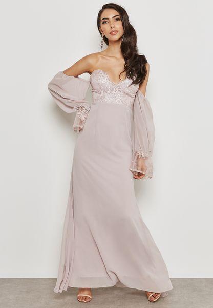 Embroidered Bandeau Dress