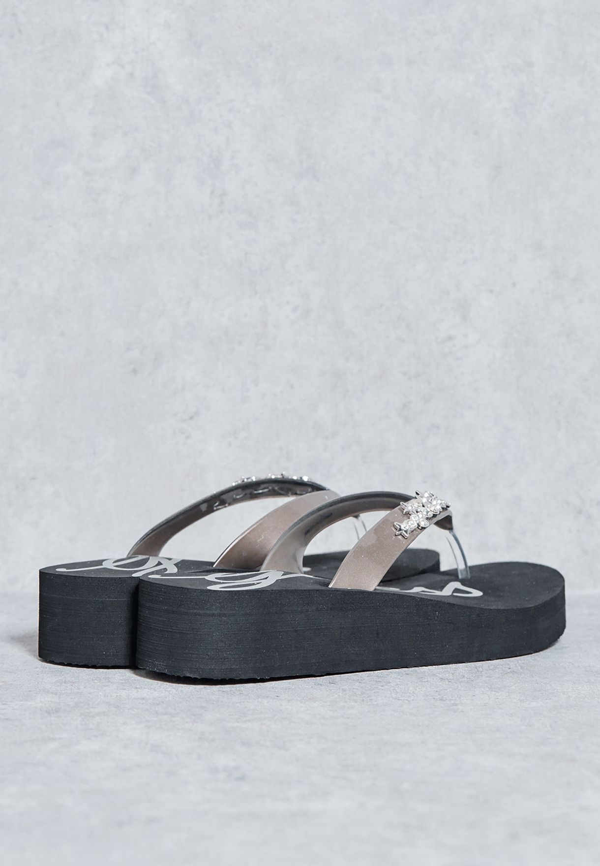 7a600bed0 Shop Guess silver Jewelled Thong Wedge Sandals gwESNA-B for ...