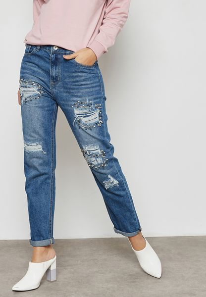 Embellished Straight Jeans