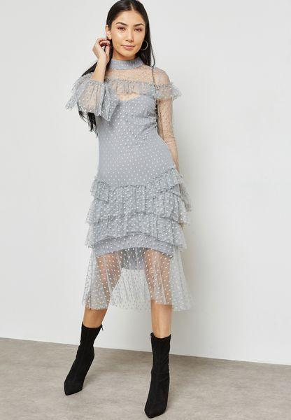 Ruffle Detail Sheer Dress