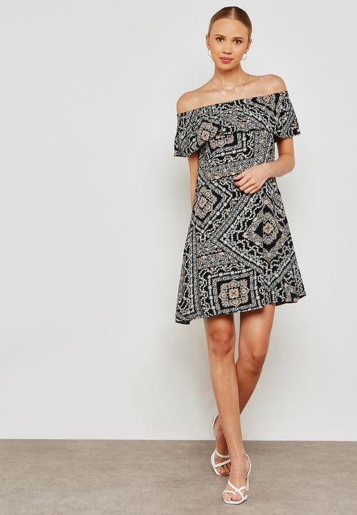 Paisley Print Bardot Dress