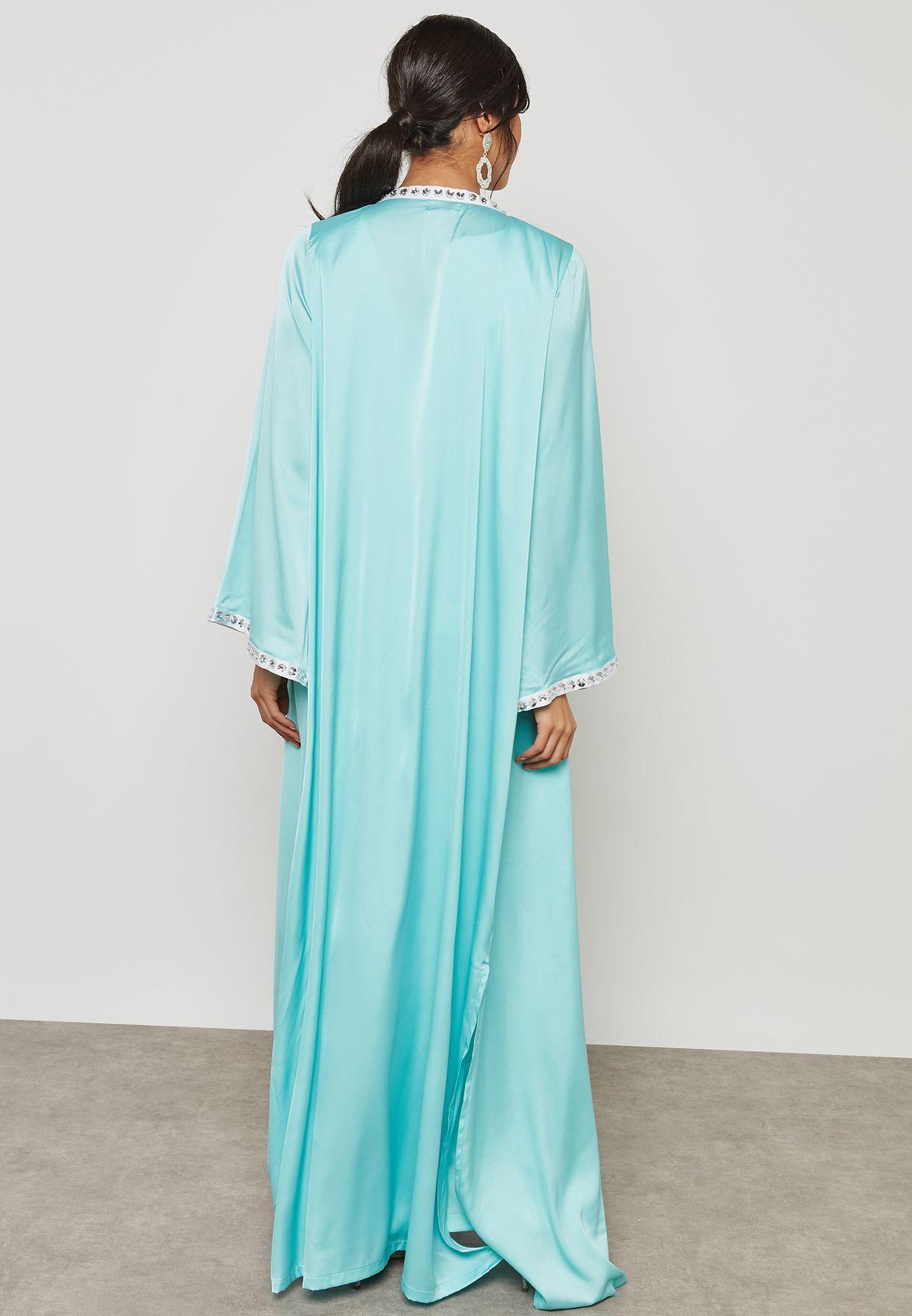 2 In 1 Studded Trim Cape Maxi Dress