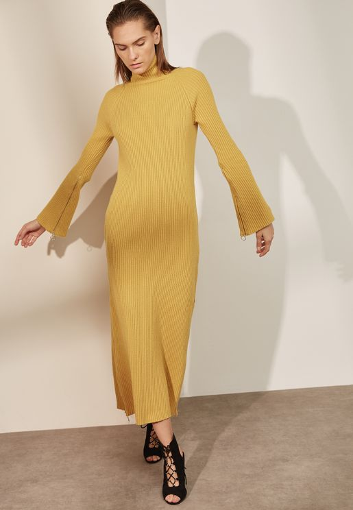 High Neck Ribbed Maxi Sweater Dress