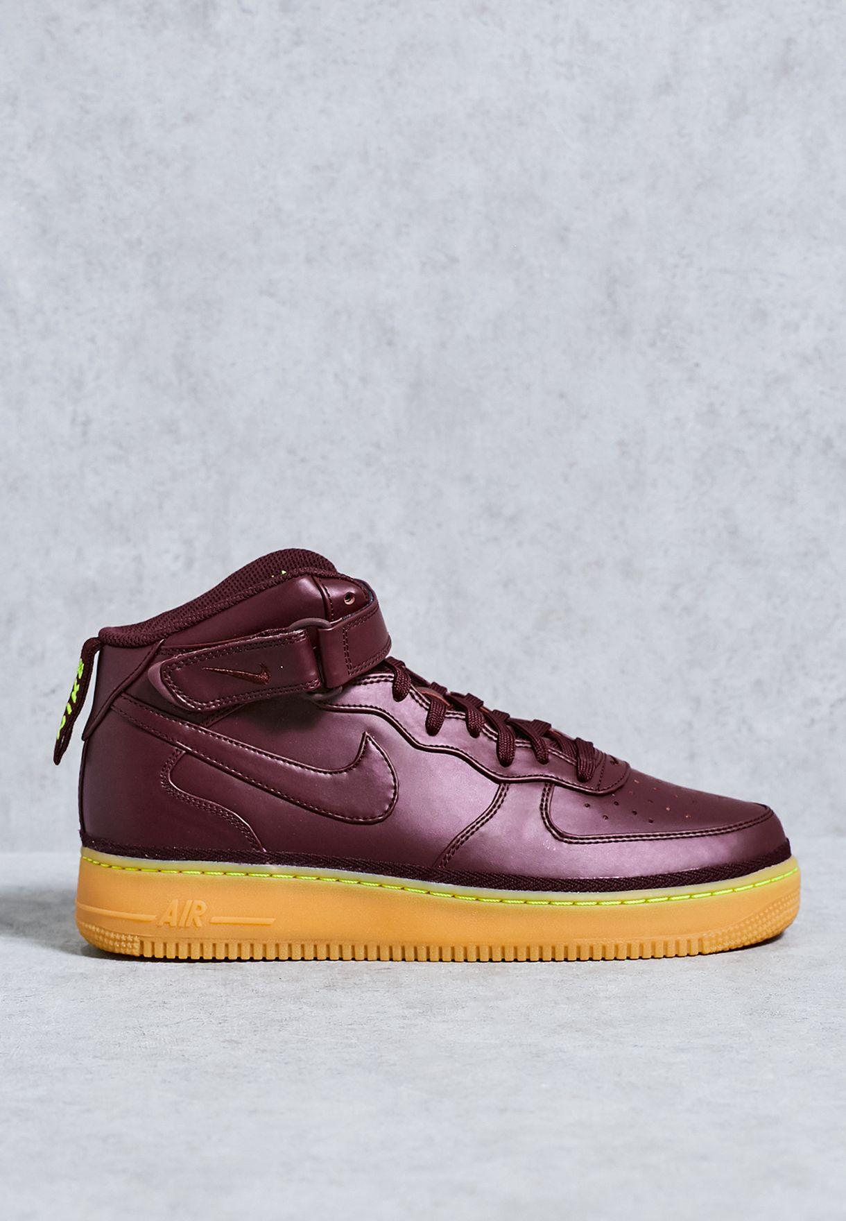 Buy Nike burgundy Air Force 1 Mid \u0026#39