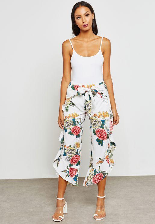 Floral Print Ruffle Trim Tie Front Pants