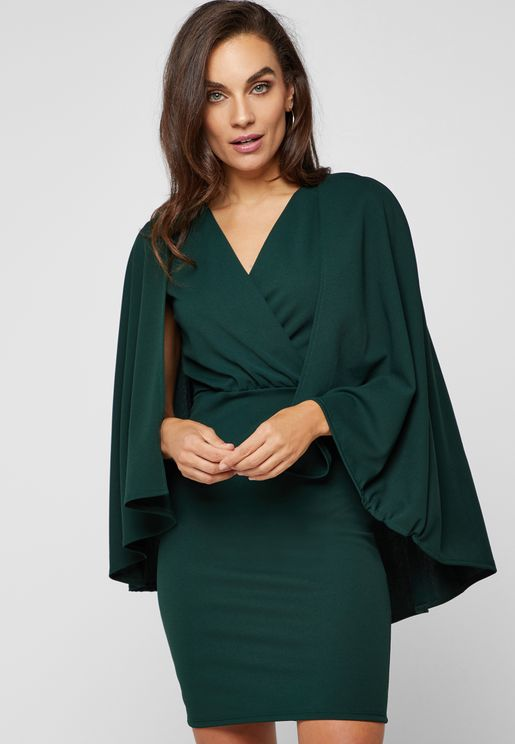 Wrap Front Cape Dress