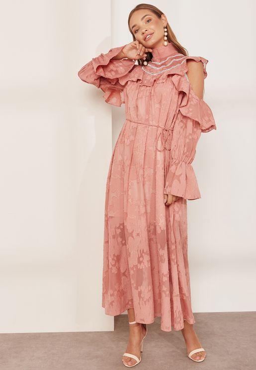 Robin Ruffle Sleeve High Neck Dress