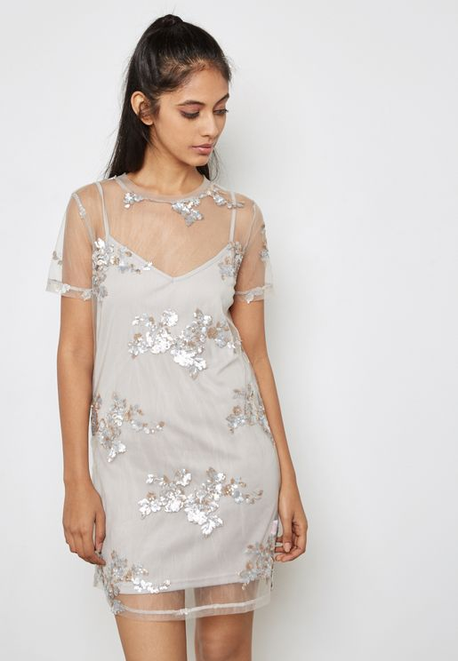 Sheer Embellished Dress