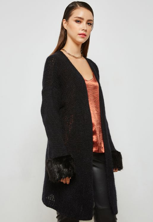 Faux Fur Cuffed Coatigan