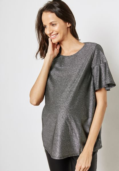 Ruffle Detail Metallic Top