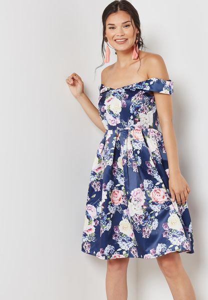Floral Print Bardot Skater Dress