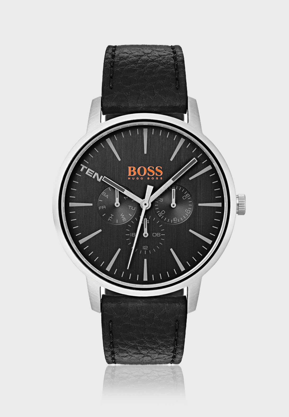 c68c5db87de006 Shop Hugo Boss Orange black 1550065 Copenhagen Leather Strap Watch ...