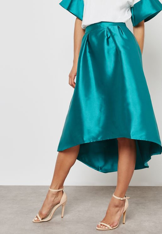 High Low Metallic Skirt