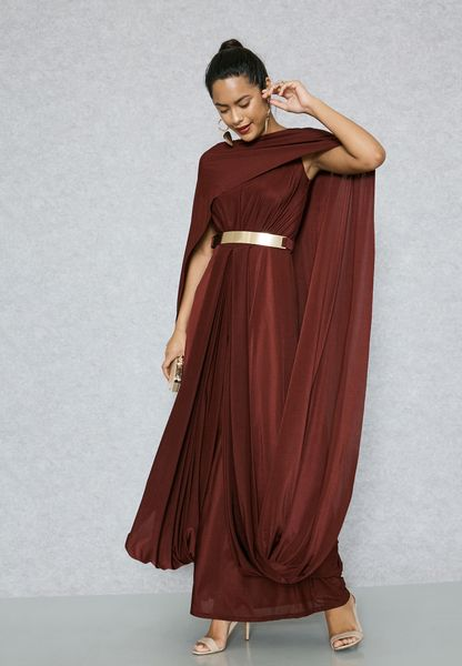 Belted Cape Dress