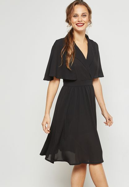 Wrap Front Layered Back Dress