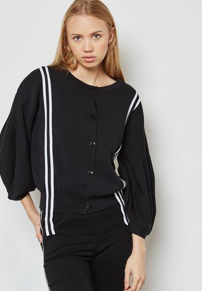 Contrast Paneled Puffed Sleeve Cardigan