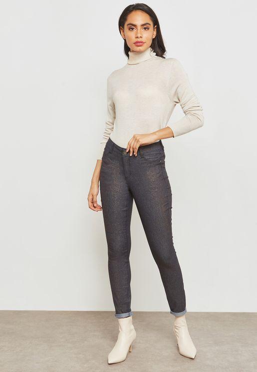 Metallic Coated Jeans