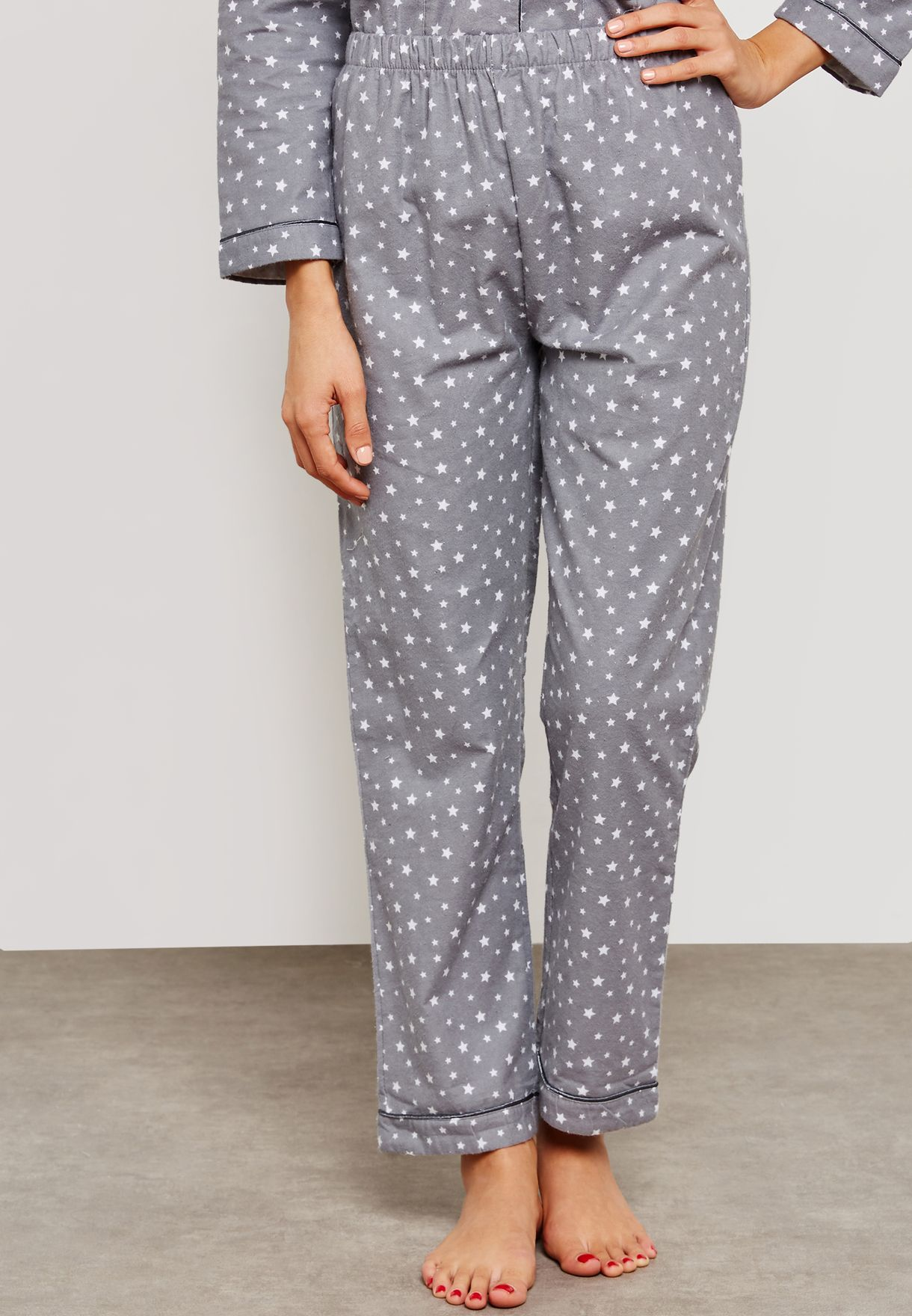 Star Print Fleece Shirt Pyjama Set