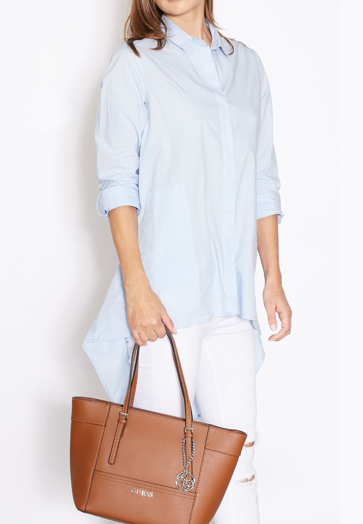 f297be42cecbc Shop Guess browns Small Delaney Classic Shopper EY453522 for Women ...