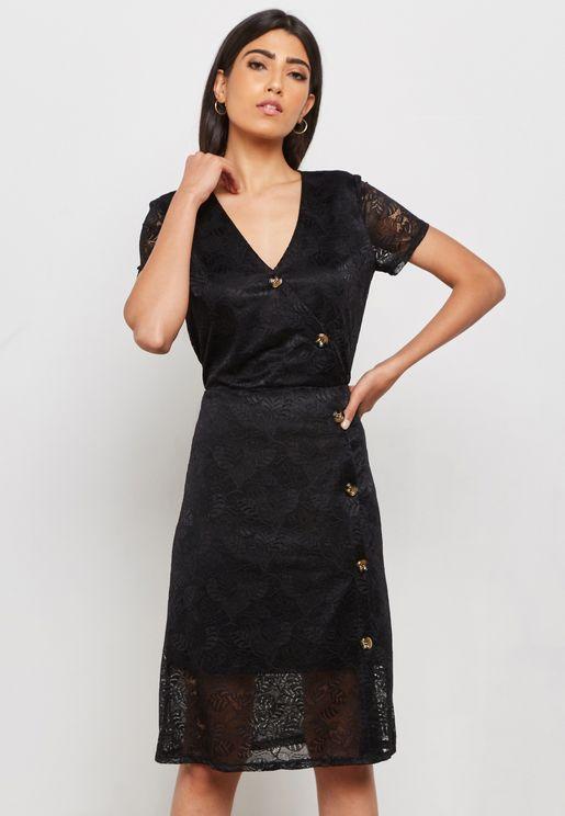 Button Detail Lace Dress