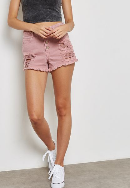 Buttoned Ripped Denim Shorts
