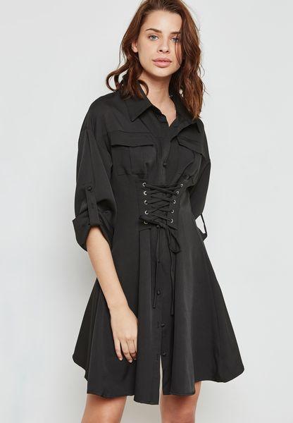 فستان بخصر كروشيه