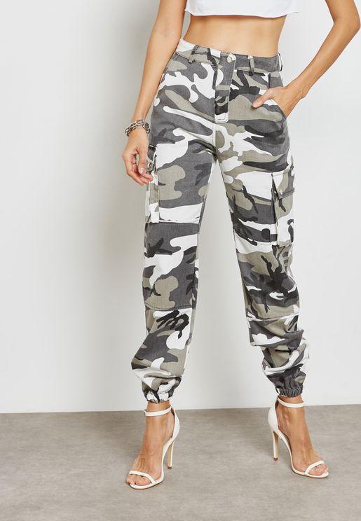 Camo Printed Cargo Pants