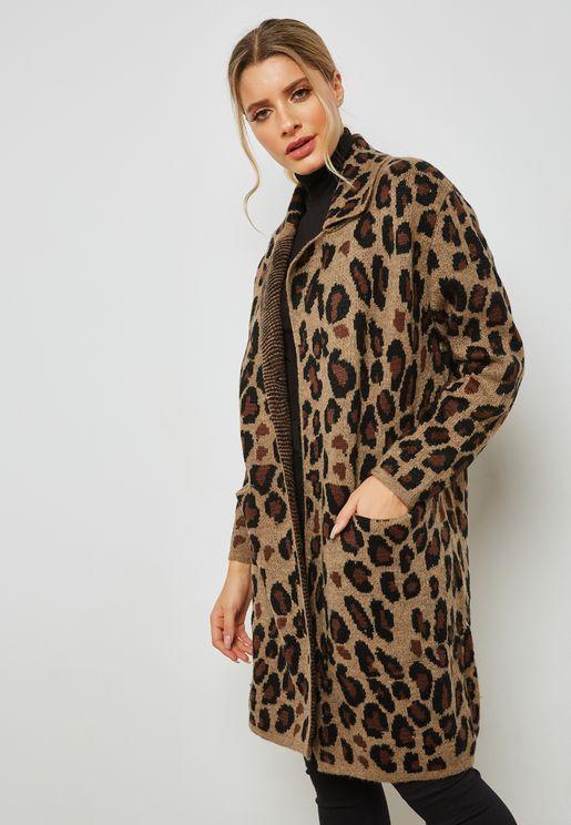 Leopard Print Longline Jacket