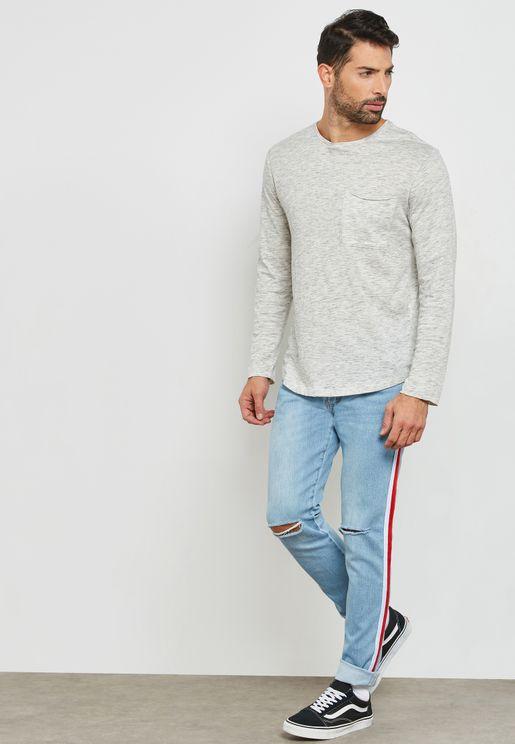 Distressed Striped Skinny Fit Jeans