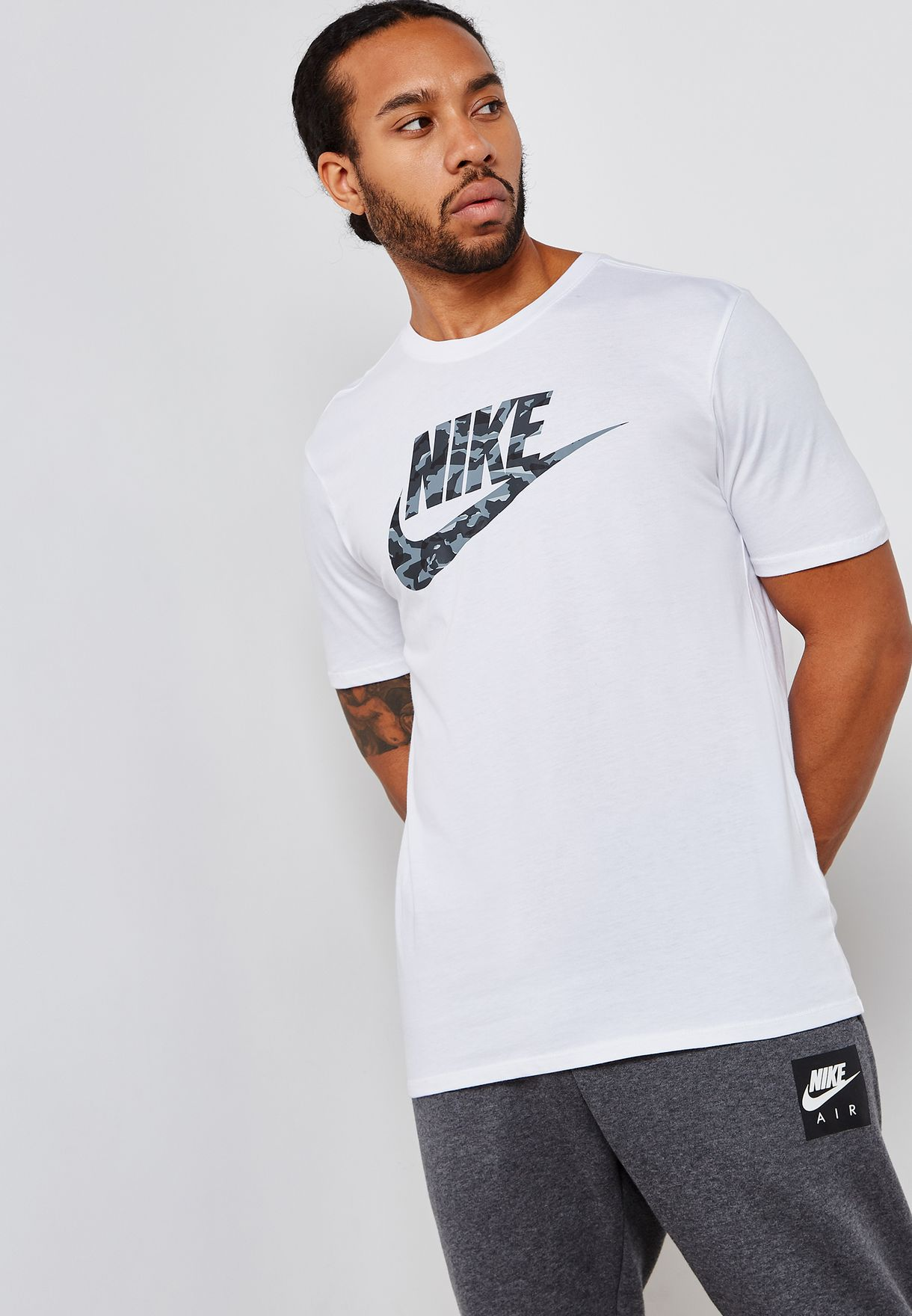 61ce337c Shop Nike white NSW Camo T-Shirt AJ6633-100 for Men in Globally ...