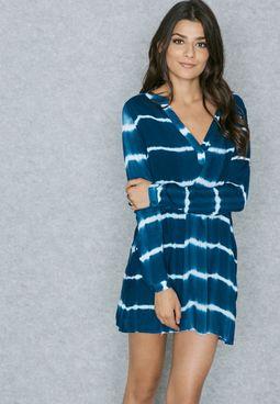 Tie Dye Plunge Shirt Dress