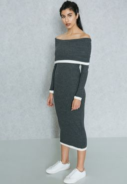 Contrast Trim Bardot Dress