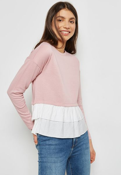 Ruffle Detail Colourblock Sweater