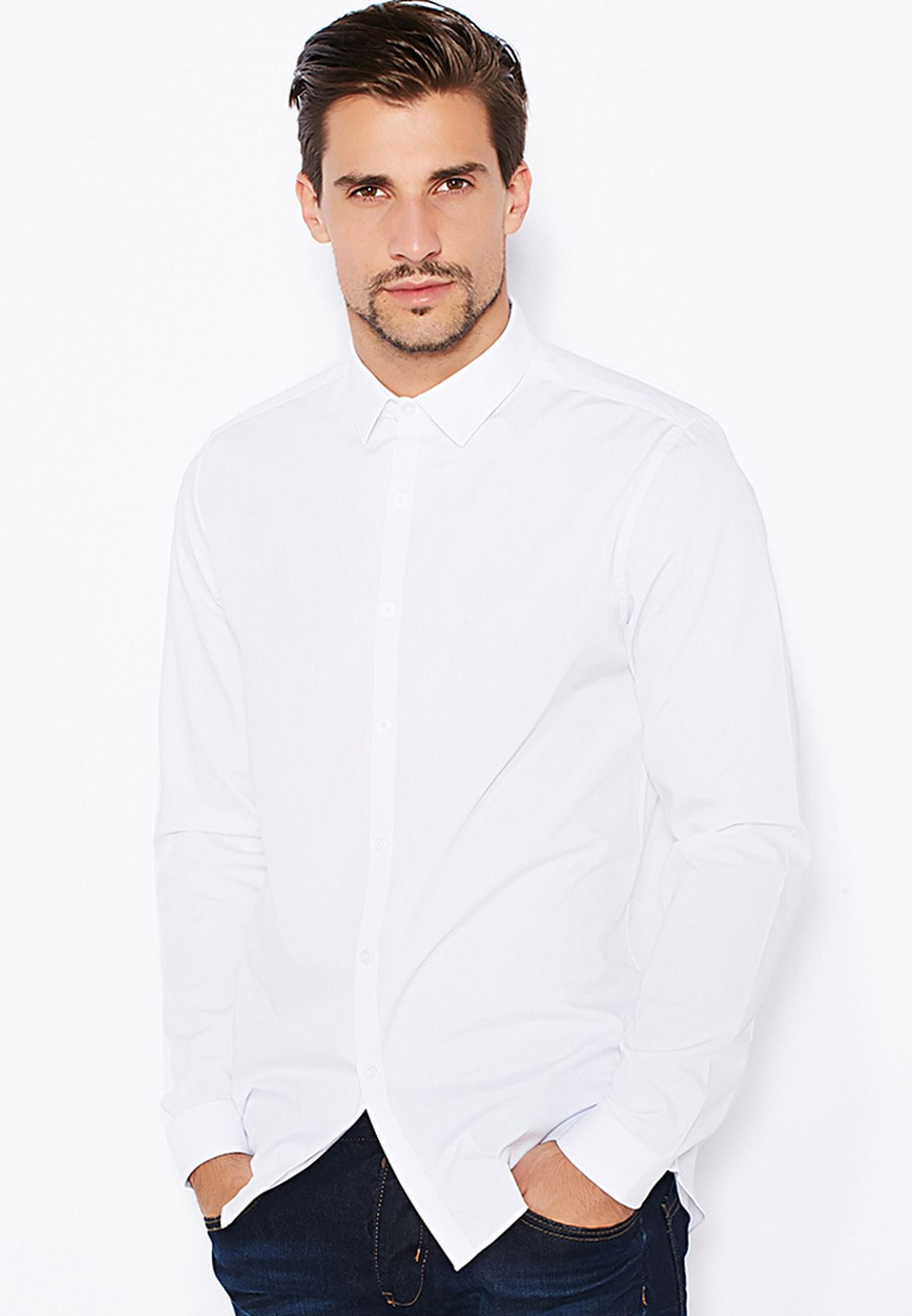 44723916 Shop Topman white Slim Fit Plain Shirt 84L02KWHT for Men in Qatar ...