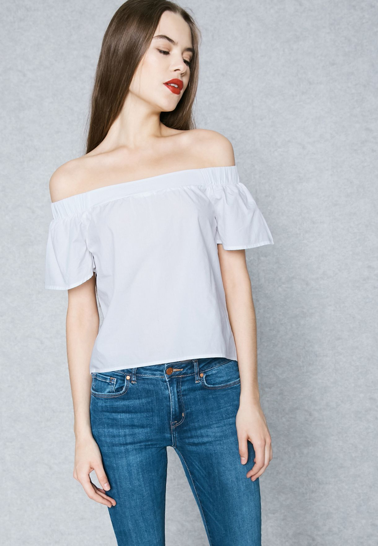 14f9385087d Shop Only white Flute Sleeve Bardot Top 15136220 for Women in Saudi ...