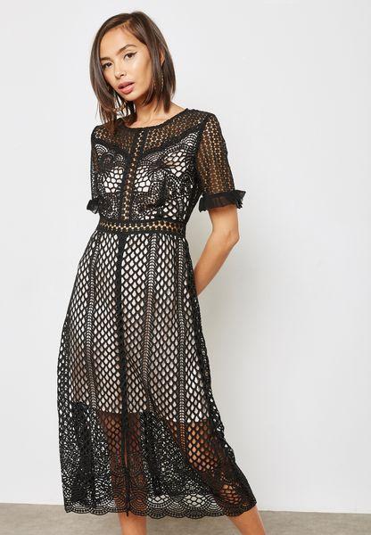 Sheer Detail Embellished Dress