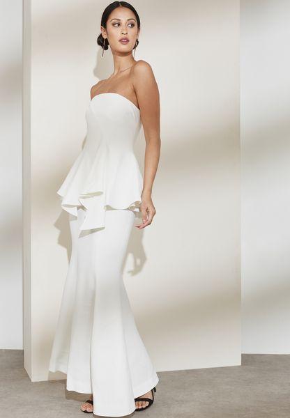 Badeaux Layered Peplum Maxi Dress