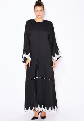 Haya's Closet Pearl Paneled Lace Trim Abaya